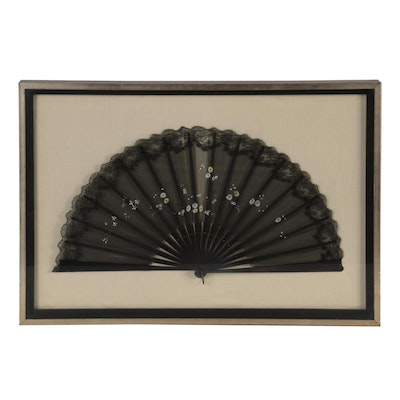 Floral Lace and Fabric Fan