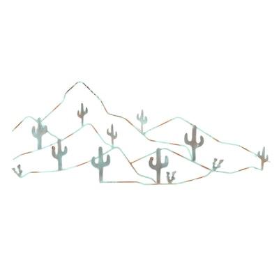 Cactus and Mountain Motif Painted Metal Wall Hanging