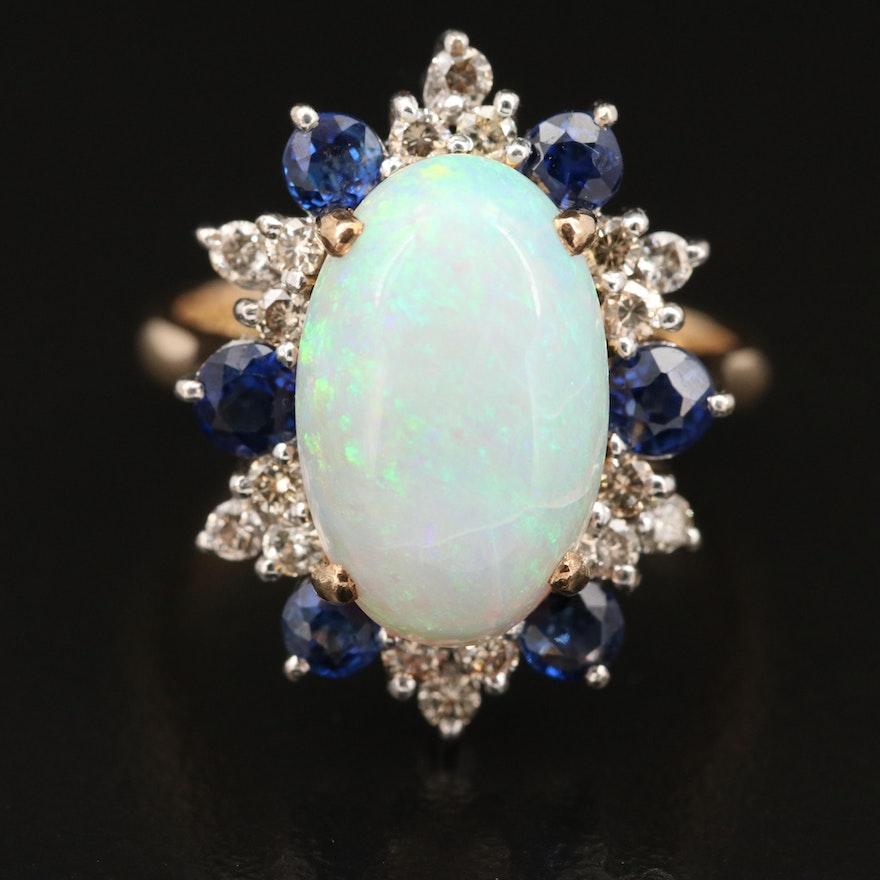14K Opal, Diamond and Sapphire Ring