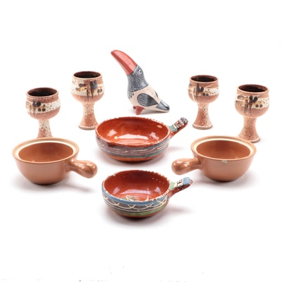Rosene Zaros Stoneware Gobets with Tonala Pottery Toucan and Other Bowls