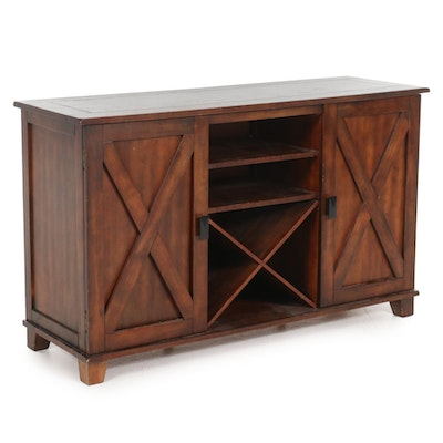 Contemporary Wooden Buffet Server with Wine Rack