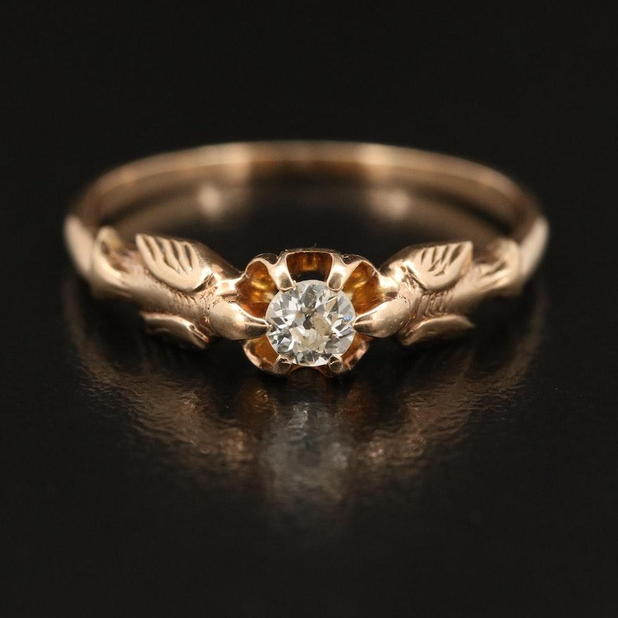 Art Nouveau 14K Diamond Belcher Ring with Swallows