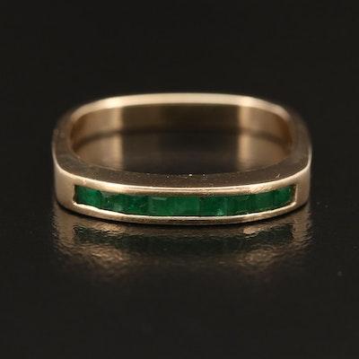 14K Emerald Square Shank Ring