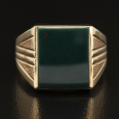 Vintage 10K Bloodstone Signet Ring