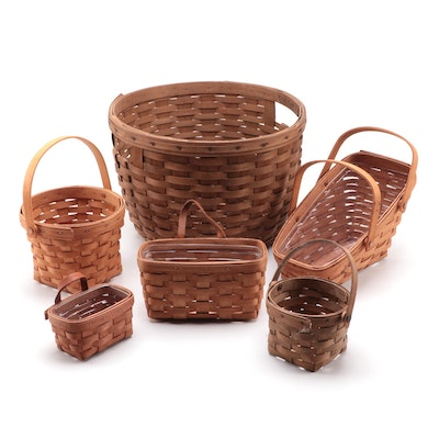 Longaberger Corn and Other Baskets with Wooden Display Stand