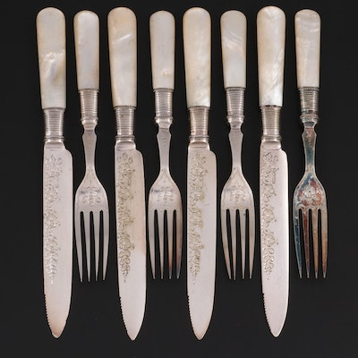 Charles J. Allen & Sidney Darwin MOP Handled Fruit Set, Late 19th/Early 20th