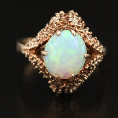 Vintage 10K Biomorphic Oval Opal Cabochon Ring