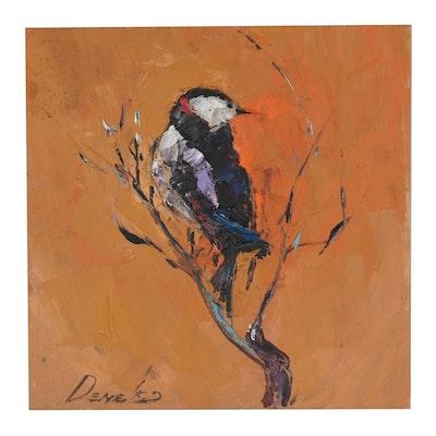 Natalia Demenko Oil Painting of Bird on Branch