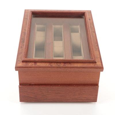 Agresti Walnut and Burl Wood Watch Display Case