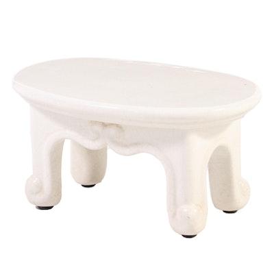 Crackle-Glazed Ceramic Stand