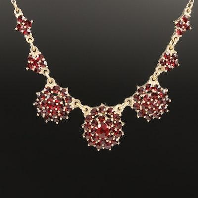 Sterling Bohemian Style Garnet Necklace