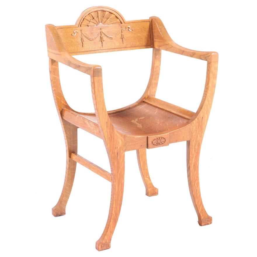 Colonial Revival Oak Curule Armchair, Early 20th Century