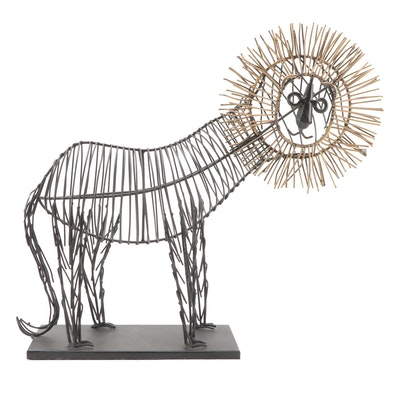 Mid-Century Modern Wire Lion Table Sculpture