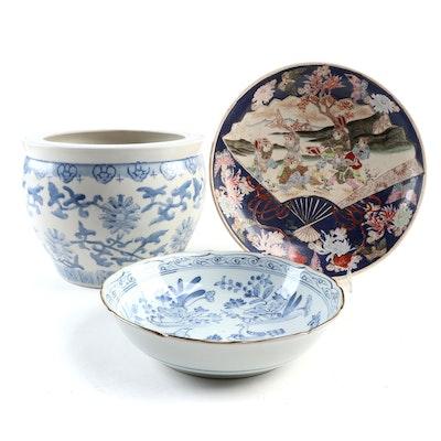 Blue and White Meiji Imari Porcelain Bowl, Japanese Charger and Chinese Fishbowl