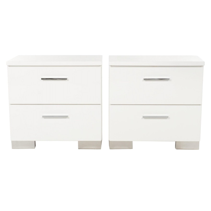 Pair of Coaster Fine Furniture White Lacquered Wood Nightstands