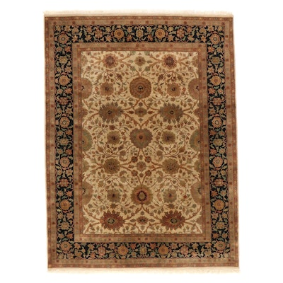 9'1 x 12'5 Hand-Knotted Indian Agra Floral Room Sized Rug
