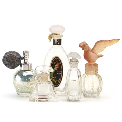 De Vilbiss Atomizer and Other Glass Perfume Bottles, Early to Mid 20th Century
