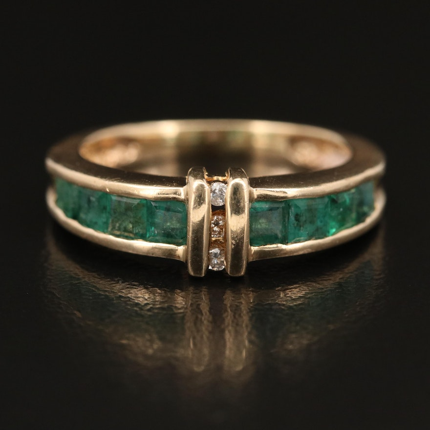 14K Channel Set Emerald and Diamond Ring