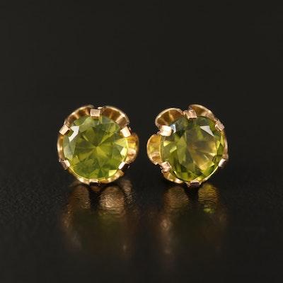 14K Buttercup Set Peridot Stud Earrings