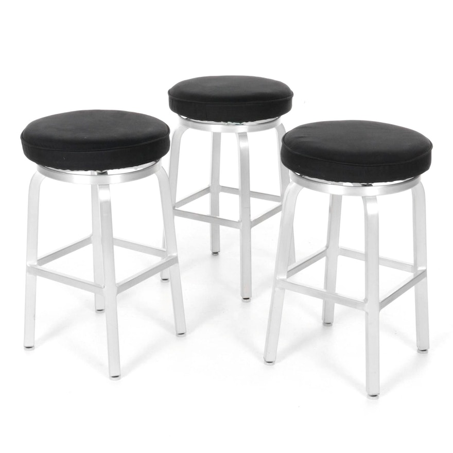 Three Microsuede Counter-Height Swivel Barstools with Brushed Metal Frames