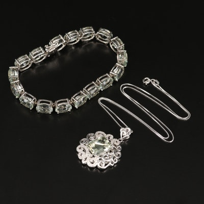 Sterling Bracelet and Necklace with Scroll Pattern, Prasiolite and Diamond