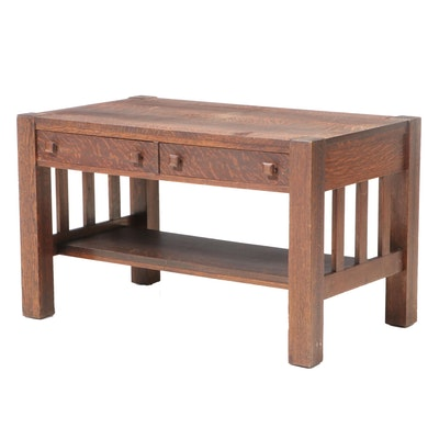 Arts and Crafts Quartersawn Oak Two-Drawer Library Table, Early 20th Century
