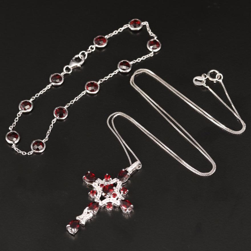 Sterling, Garnet and Sapphire Cross Necklace and Garnet Station Bracelet