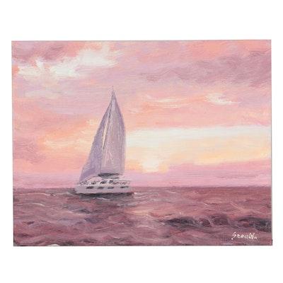 Sean Wu Oil Painting of Sailboat, 2020