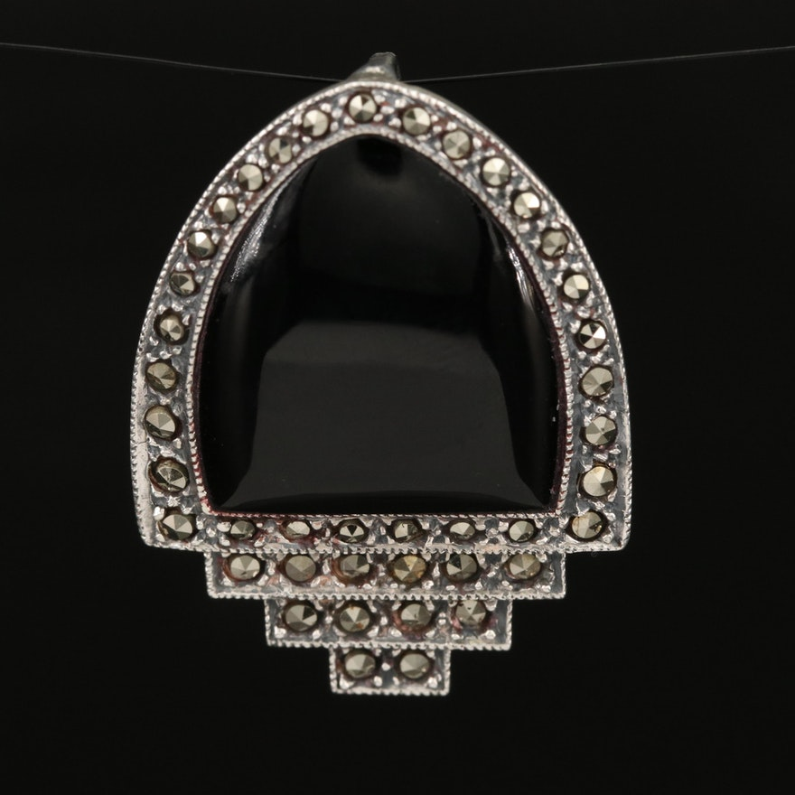 Sterling Black Onyx and Marcasite Pendant