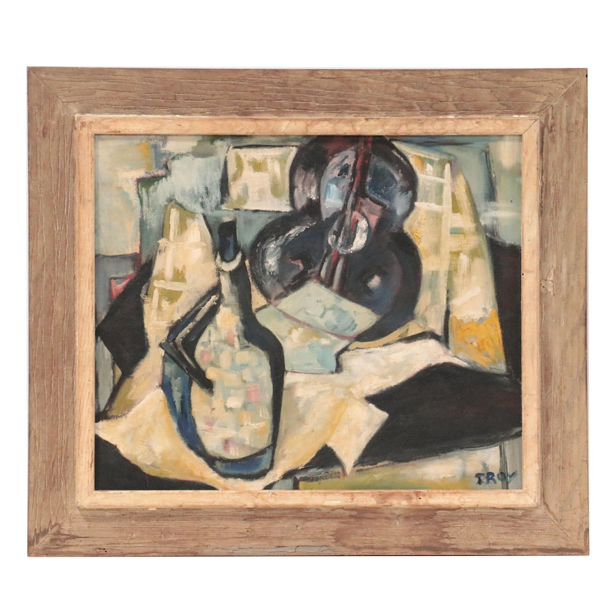 Cubist Style Oil Painting of Still Life with Guitar