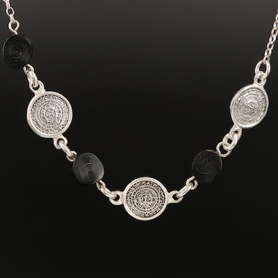 Sterling Mayan Calendar Necklace with Coral Accents