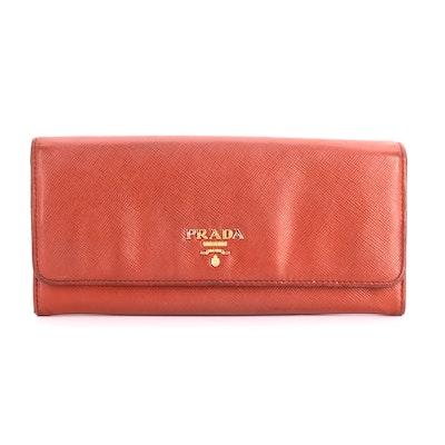 Prada Red Saffiano Leather Wallet with Color Block Interior