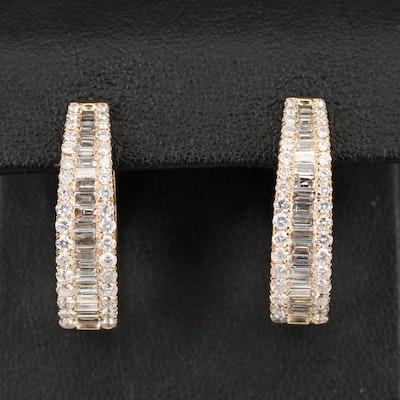 14K 2.81 CTW Diamond Oval Hoop Earrings