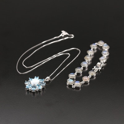 Sterling Necklace and Link Bracelet with Labradorite, Moonstone and Topaz