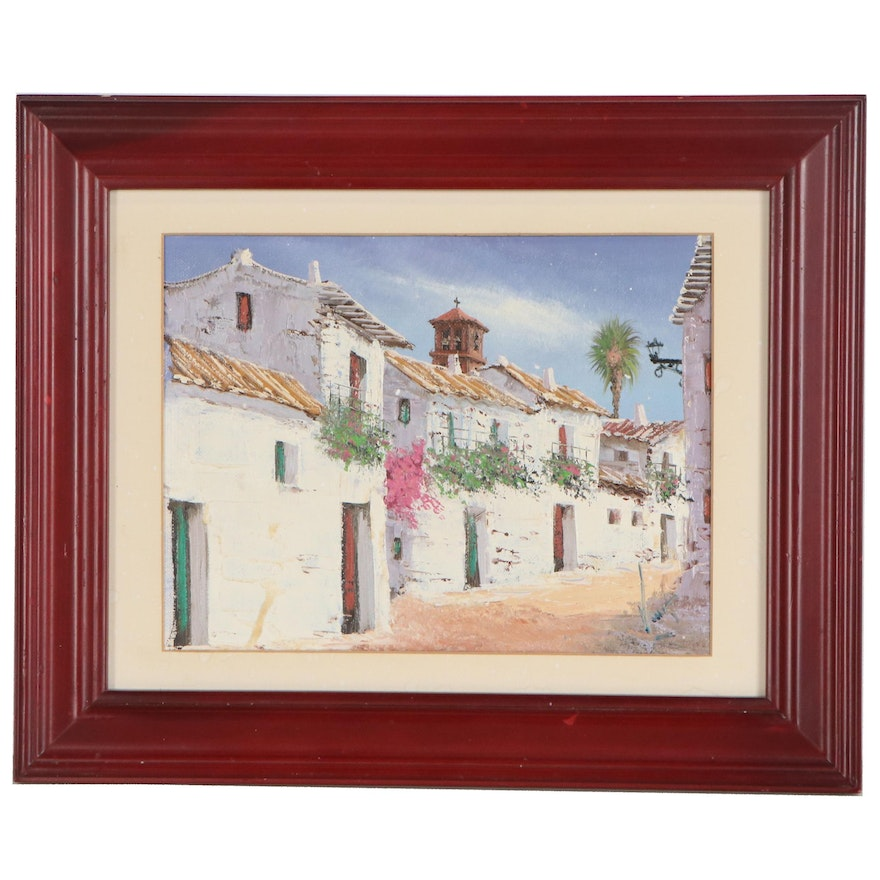 Street View Oil Painting, Late 20th Century