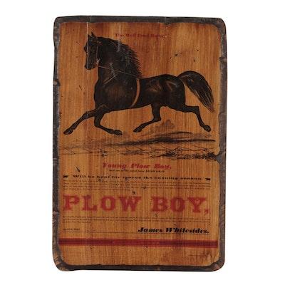 Sport Horse Stud Advertisement on Wooden Plaque, Mid-20th Century