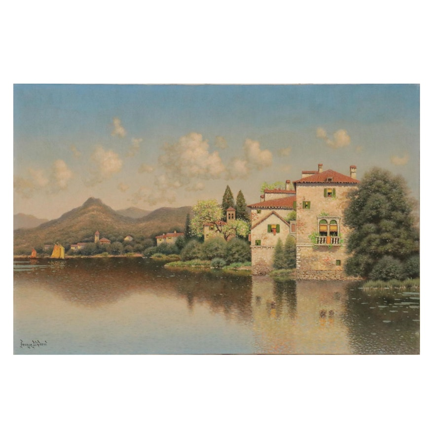 George W. Drew Landscape Oil Painting with Spanish Houses Near Lake