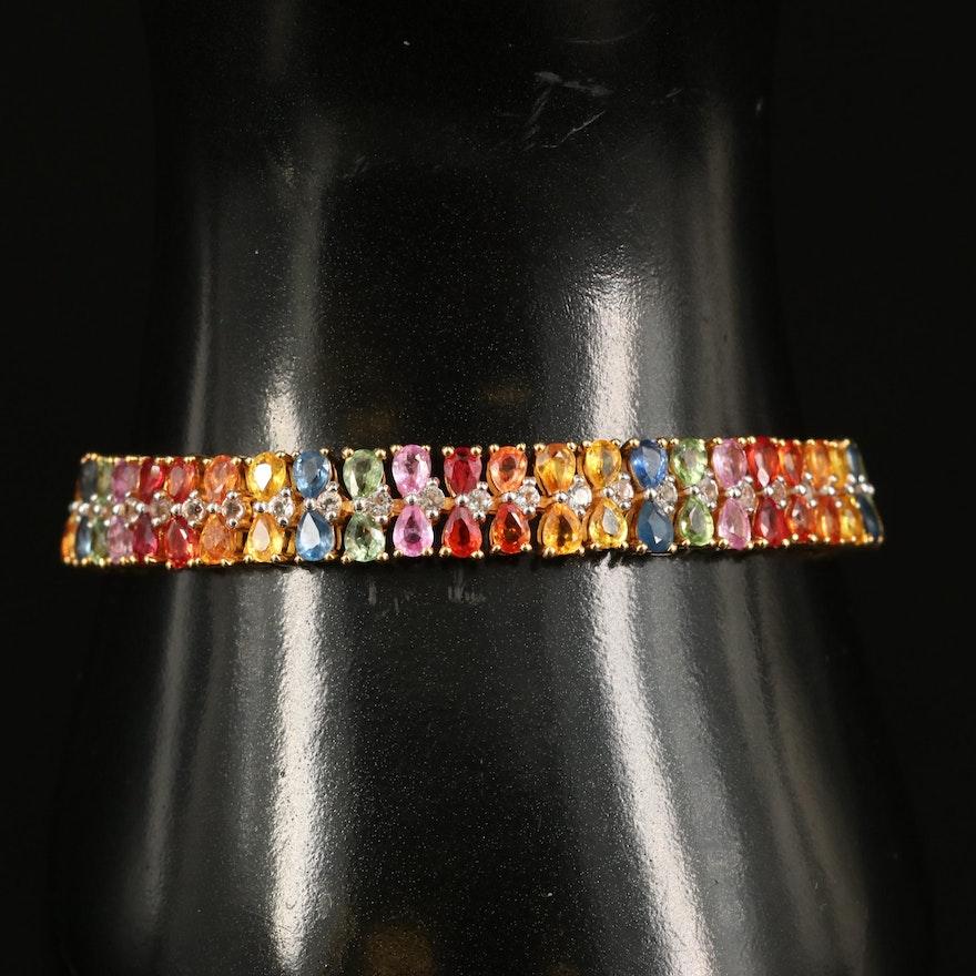 Sterling Sapphire and Topaz Rainbow Bracelet