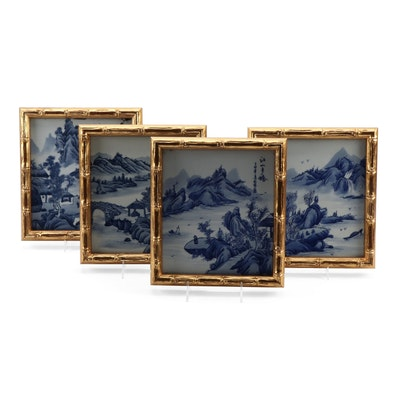 Japanese Hand-Painted Blue and White Porcelain Tiles in Faux Bamboo Frames