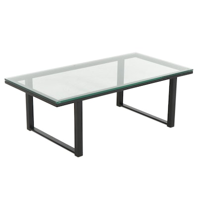Industrial Style Metal and Glass Top Coffee Table