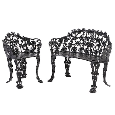 Grape Vine Motif Black-Painted Metal Patio Bench and Chair