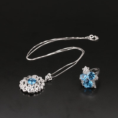 Sterling Ring and Necklace with Scroll Pattern, Topaz and Diamond