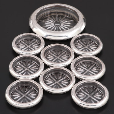 Frank M. Whiting and F.B Rogers Sterling Rimmed Glass Coasters