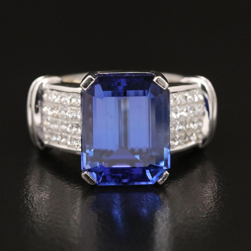 18K 8.44 CT Tanzanite and Diamond Ring