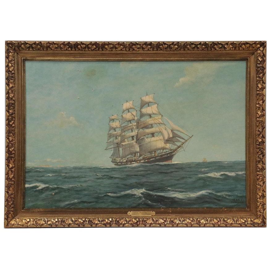 "Terry Dawson Oil Painting ""Ship Rodney,"" Mid-20th Century"