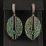 Sterling Emerald, Tsavorite and 2.20 CTW Pavé Diamond Earrings