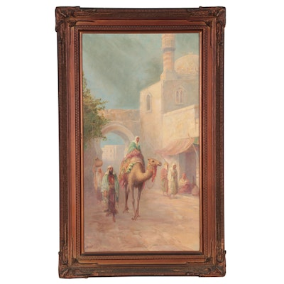 Victor Casenelli Oil Painting of Middle Eastern Market Scene