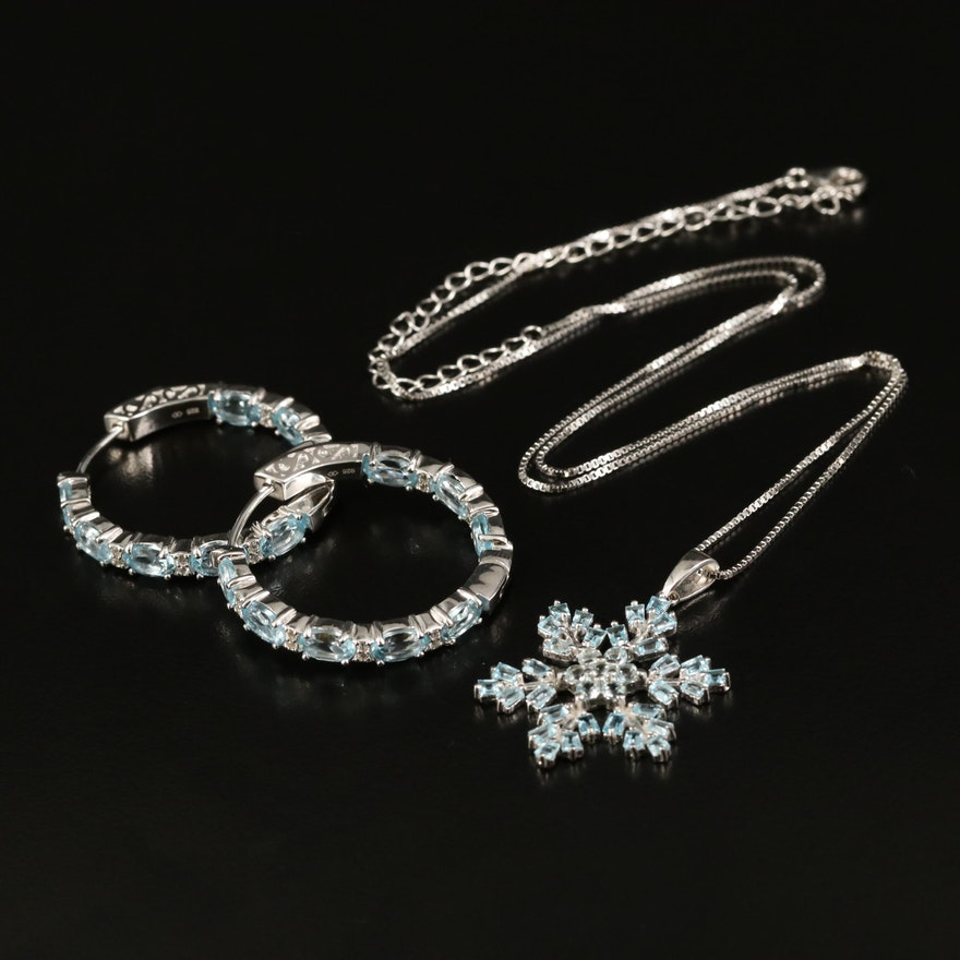 Sterling Inside-Out Hoop Earrings and Snowflake Necklace with Topaz