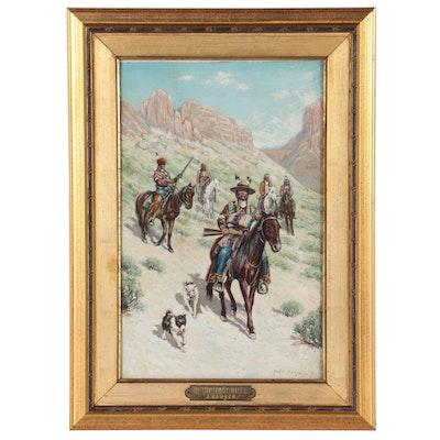 "John Hauser Gouache Painting ""In the Foothills,"" 1896"