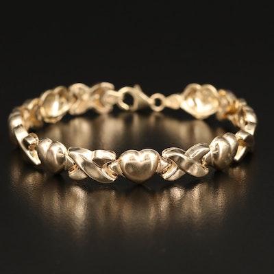 "Italian 10K Heart and ""X"" Link Bracelet"